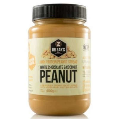 Dr Zak`s - High Protein Peanut spread 450g White Chocolate and Coconut