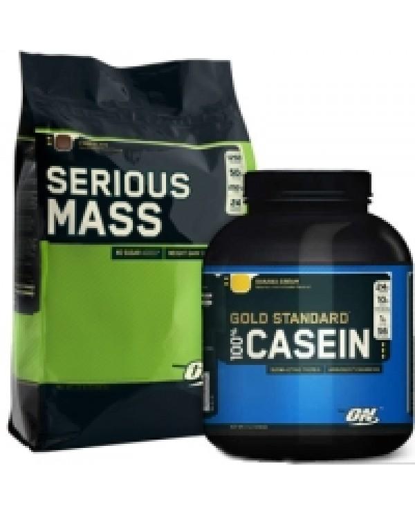 Optimum Nutrition - Bulk Stack - Serious Mass12lb + Casein 4lb + Free Shaker!