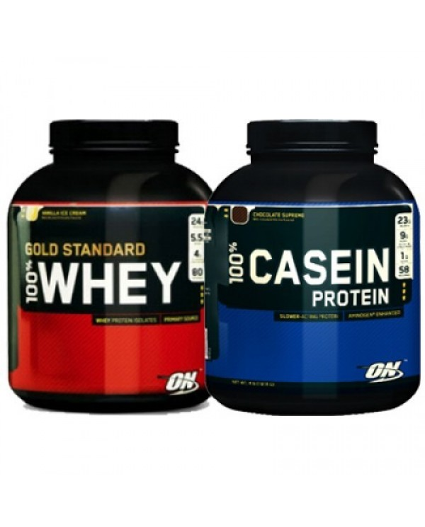 Optimum Nutrition - 24 Hours Protein Stack - Whey 5lb + Casein 4lb + FREE Shaker!