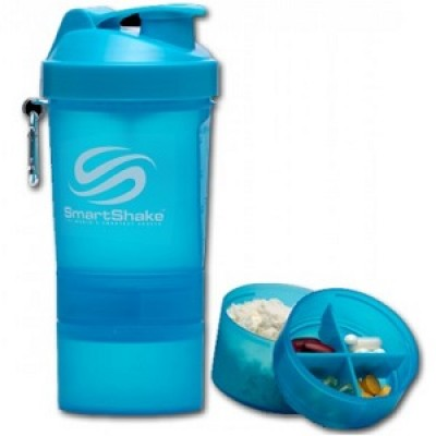 SmartShake - 550ml + 2 added compartments - NEON BLUE