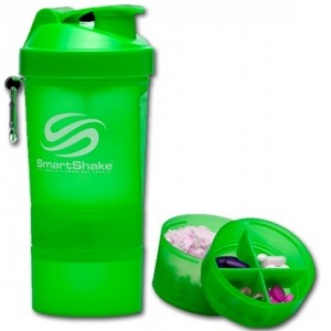 SmartShake - 550ml + 2 added compartments - Neon Green