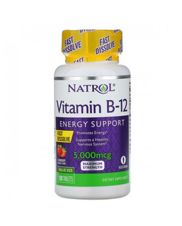 Natrol - Vitamin B-12  Fast Dissolve Strawberry 5,000 mcg, 100 Tablets