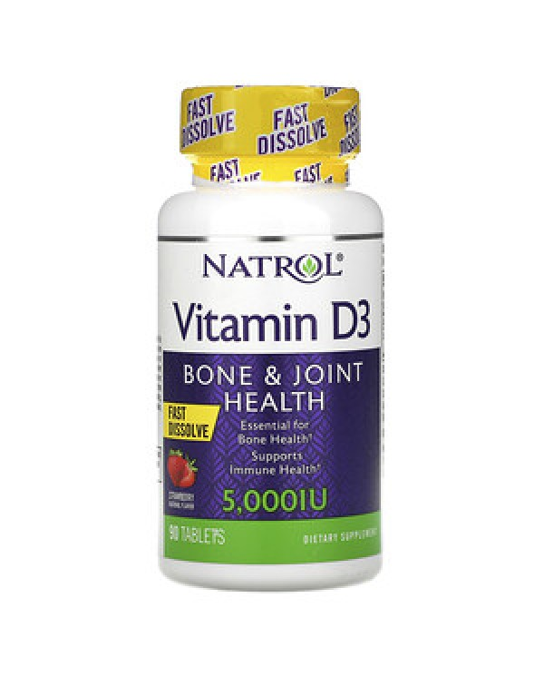 Natrol - Vitamin D3 5000iu Straweberry- Fast dissolve 90tablets