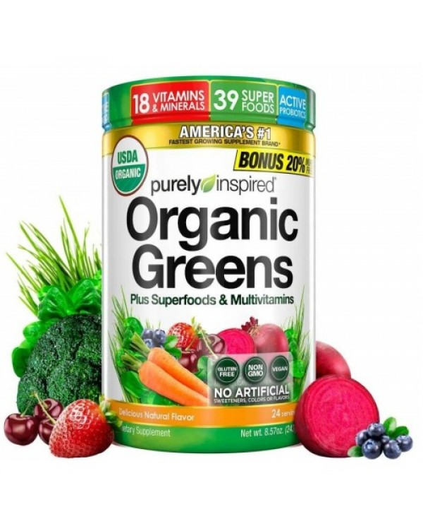 Purely Inspired -  Organic Greens Plus Superfoods & Multivitamins (243g) Natural Flavor