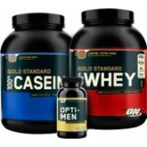 Optimum Nutrition - Performance Stack - Whey 5lb + Casein 4lb + Opti-Men 90tabs + Free shaker!