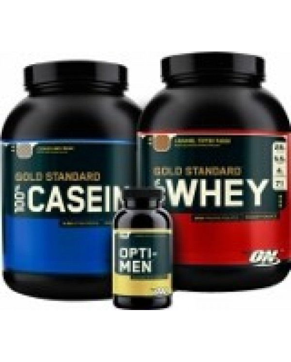 Optimum Nutrition - Performance Stack - Whey 5lb + Casein 4lb + Opti-Men 90tabs + Free shaker!