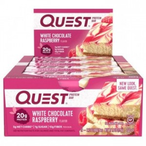 Quest Nutrition - White Chocolate Raspberry Protein Bar - box of 12