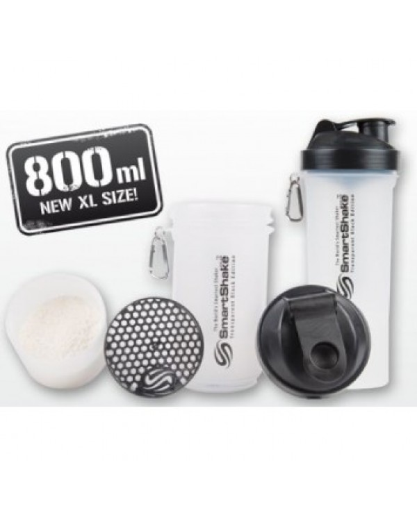 SmartShake - 800ml + 2 added compartments - CLEAR - XL SIZE!